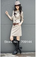 Free Shipping Slim Cowboy Fashion Long-sleeved Winter Dress Women Dress  With Belt M L XL