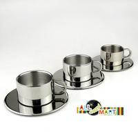 Medium 7.3 x 7.3 x 4.7 cm Europen Style Stainless Steel Insulated Coffee Tea Mug Cup, Saucer Set, mat 11.8* 12.8cm Free Shipping