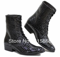 2012 new Korean version serpentine men boots fashion handsome cowboy leather boots free shipping ZA175