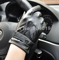 Lots of 5 Pcs Men's Black Fashion PU Leather Winter Wrist Gloves Driving Gloves 3 Lines