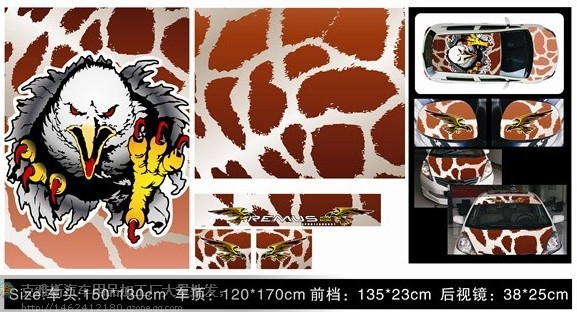 free shipping Eagle Image REMUS DIY Auto Stickers Head+front+Rear Windshield+Rearview Mirror+Roof Complete set 5pcs Foil(China (Mainland))