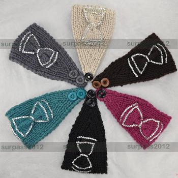 HOT Women Bow Crystal Crochet Headband Fashion knit Headwrap
