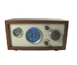 Wooden fashion vintage table clock radio alarm clock function(China (Mainland))