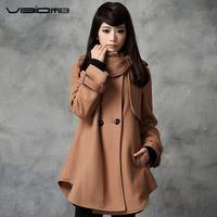 FREE SHIPPING White 2012 wool loose double breasted cloak wool coat outerwear women's 8801 Woman coat