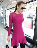 FREE SHIPPING   C fashion thin woolen patchwork gauze sexy elegant long-sleeve dress autumn  929