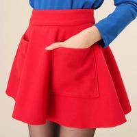 FREE SHIPPING   Vintage high waist woolen expansion skirt short skirt red bust skirt small a high waist skirt