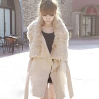 FREE SHIPPING  autumn and winter plus size clothing rabbit fur cloak overcoat medium-long woolen outerwear