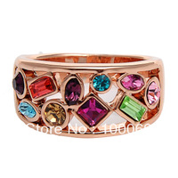 Min.order is $15 (mix order) Free Shipping Multicolored Crystal Fashion Office Lady Ring R2011