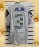 Brand New Seattle Football Jerseys 3 Russell Wilson Grey Grey Shadow SeaBlue White Elite Jerseys
