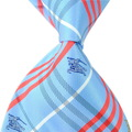 Heroic Spirit  Woven Man Tie Necktie TIE0087 blue  base with red gray combined check Stripe Silk Classic Free Shipping