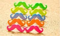 100 pairs  (mix order) Free Shipping Fashion Jewelry Mini Vintage Moustache Mustache Stud Beard Earrings