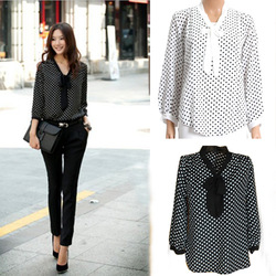 Fashion Sexy Women&#39;s 3/4 Sleeve Polka Dot Print Top Shirt Blouse Chiffon 3754(China (Mainland))