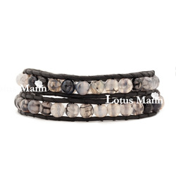 Ring grey color dragon agate black leather bracelet(China (Mainland))