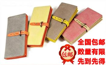 Hot-selling women's short medium-long scrub vintage drawstring color block metal hasp wallet