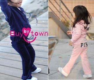 TZ-053,Free Shipping! baby velvet sport suit cute girl letters clothes set (tops+pants) 2 pcs kids garment Wholesale And Retail