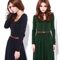 2012 Restore Ancient Ways Literary Van Round Collar Knitting Long-Sleeved Dress Big Code Base Long Dress   W147