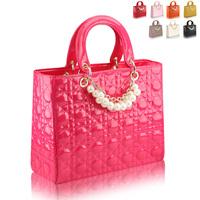 2012 women's handbag color block candy tassel plaid small fresh horsehair bag casual rabbit fur handbag
