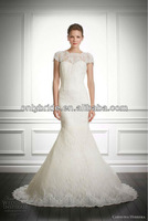 romantic angel Sweetheart Short Sleeves lace Mermaid wedding dress