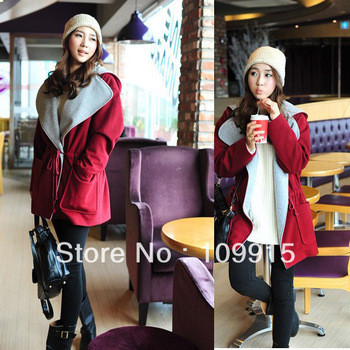Fashion Women Loose Coat Cotton Blending Wide Lapels Outerwear Winter Jacket HR467