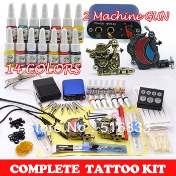 2pcs Tattoo Machine Guns Tattoo Kits 14 Bottles 5ML Ink /pigment 50pcs Needles Tattoo Set Supply