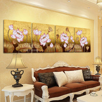 Frameless wall picture lotus huge modern abstract wall art oil painting on canvas