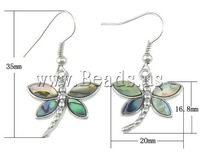 Free Shipping Wholesale Animal butterfly shape with brass hook,approx 6.8x20x3mm 35mm 10Pairs/Lot Abalone Shell Earrings