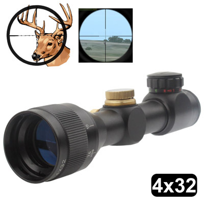 4 x 32 Water-proof / Fog-proof / Shock-proof Magnification Adjustable Riflescope with 2 x Mounting Stand 32mm Objective Diameter(China (Mainland))
