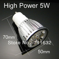 Free shipping 10pcs/lot GU10 LED Bulb lamp 85~265V 5W led Spotlight White/Warm white led lamp
