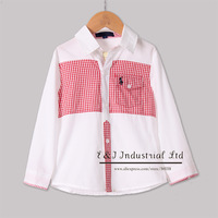 Free shipping Little Boy T-shirts White and Pink Plaid Shirts Branded Children Clothing BT21210-15^^EI