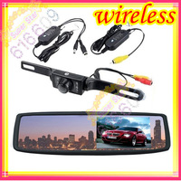 "DIY 4.3"" Car LCD Rearview Monitor Mirror + Wireless Reverse Car parking Backup Camera Kit free shipping"