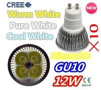 10pcs/lot Free shipping Dimmable High Power 4X3W 12W AC110-240V GU10 LED Light Bulb Downlight LED Lamp Spotlight LED Lighting