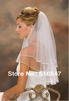 2013 Hot sale New Fashion Two-Layer White Bridal Veils Free shipping