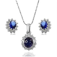 Free Shipping,wholesale Gorgeous 18 K White Gold plated & blue CZ necklace & Earrings set