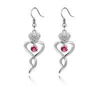 18K White Gold Plated Hearts Rhinestones Earrings Made of Genuine Austrian Crystals Jewelry 2145