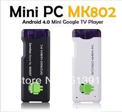 Free shipping   MK802 Android 4.0 Mini PC IPTV Google Internet TV Smart Android Box DDR3 1GB RAM 4GB ROM Allwinner A10 mk802 pc