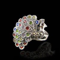 Bali Style Sterling Silver Peacock Luxury Marcasite Ring Birthday Gift for Girl Friend Wife Mother