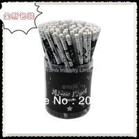 JJ216 Free Shipping(100pcs/lot) Wholesale Wooden HB Pencils with Eraser for School and Office Round Shape/music pencils