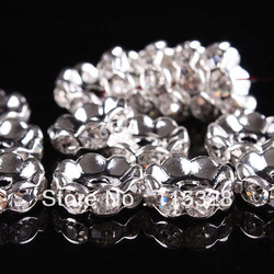 Free Shipping 50pcs/Lot 8MM Crystal Spacer Metal Silver Plated Rondelle Rhinestone Loose Beads For Jewelry Making(China (Mainland))
