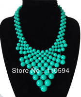 2013 New Arrival bubble bib chorker collar women resin beads exaggerated Statement Necklace jewelry,free shipping