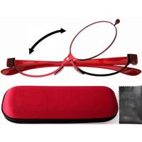Free shipping Patent Red Magnifying Eye Makeup Flipup Eyeglasses Glasses w/Hard Case+1.50,+2.50,+2.75,+3.00,+3.25,+3.50