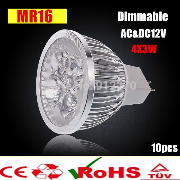 10X High Power Dimmable MR16 GU10 E27 B22 E14 GU5.3 4x3W 12W Spotlight Lamp 4 CREE LED 12V Light Bulb Downlight(China (Mainland))