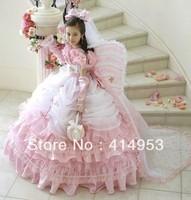 Free Shipping 2014 Strapless Pink Organza Ruffles Custom made Ball Gown Little Flower Girl Dresses