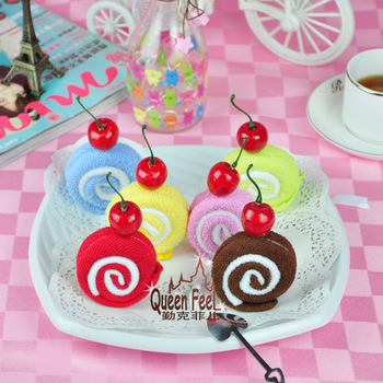 Hot Advertising creative Christmas children's wedding gift supplies 100% cotton towel cake wholesale swiss roll, free shipping