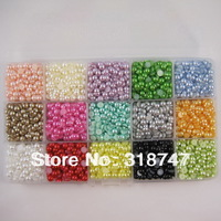Free shipping 4500pcs Mixed Color Half Pearl Bead 5mm Flat Back Gem Scrapbook Craft /DIY nail art With Compartment Plastic Box