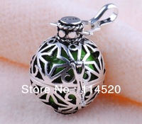 925 sterling silver Jewelry Pendant H11-a7, Women's Charm green Harmony ball and Copper silver plated Cage Jewelry Pendant