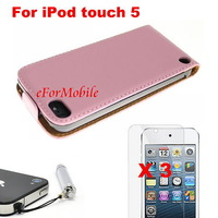 Ultra Slim Premium Leather Flip Case Cover +Screen Protector +Mobile Phone Pen For Apple iTouch 5 iPod touch 5