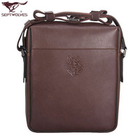 SEPTWOLVES male backpack messenger bag cowhide fashionable casual man bag 4032 - 15