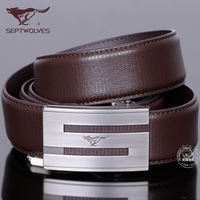 SEPTWOLVES strap genuine leather male automatic buckle male cowhide belt Men belt inlining