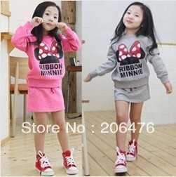 new autumn baby minnie suit girls sweatshirt + skirt sports clothes set children clothing free shipping