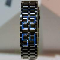 Black Band Digital Blue LED Lava Wrist Watch Iron Metal Samurai Men's